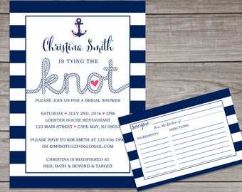 Nautical Bridal Shower Invitation - Tying the Knot - Navy Blue Bridal Shower Invitation - Nautical Bridal Shower Invitation -  Bridal-148