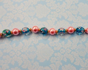 Pink / Blue Glass Lampwork w/ 8mm Pink Pearls Bead Strand