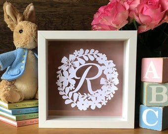 Original Papercut New Baby Floral Initial Newborn Name Framed Gift