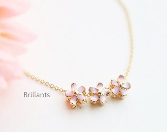 Cherry blossom pendant necklace in gold, Bridesmaid necklace,, Everyday necklace, Wedding necklace