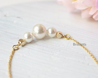Pearl Necklace in gold, Bridesmaid necklace, Birth stone necklace, Bridesmaid necklace, Wedding necklace