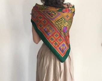 30% Off - Squared vintage silky scarf | Italian design | Flower Foulard spring colors