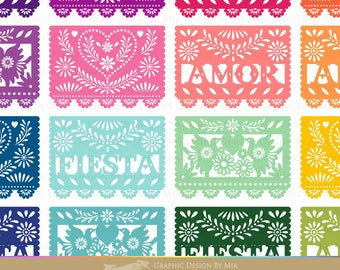 Select your Colors Papel Picado / Digital Papel Picado / Set of 4 Papel Picado Clip Art / Note color numbers - Instant  Download