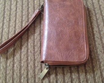 Vintage embossed leather wallet