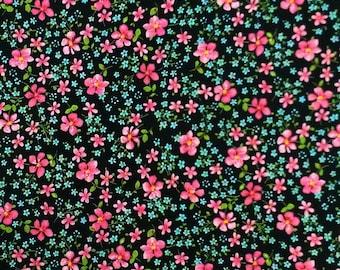 Pink Flowers Floral Black 100% cotton FQ Fat Quarter 1/2 Half Full Metre