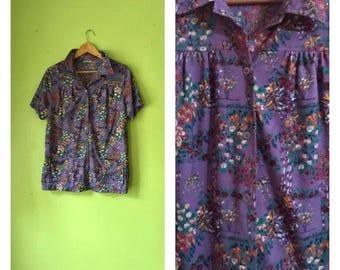 SALE Vintage 1970s floral blouse sweet button down blouse purple floral shirt boho HIPPIE clothing 70s womens LARGE