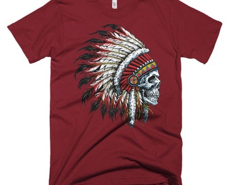 TOP SALE! Indian headdress skull - American Apparel Fine Jersey Short Sleeve Men T-Shirt - Made in USA
