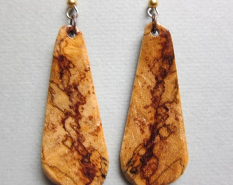 Unusual Exotic Wood Long large Dangle Earrings handcrafted ecofriendly ExoticWoodJewelryAnd