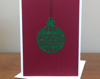 Ornament Christmas Card, Christmas Card, Green Glitter Card