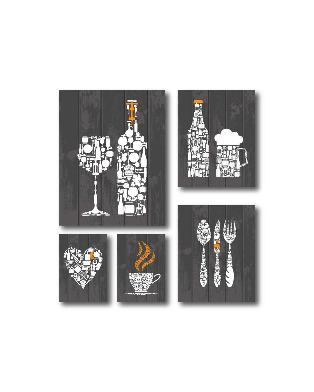Wall Decor Set Of 5 : Set orange grey kitchen decor prints wall art
