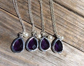 Purple Tear Drop Necklace, Charm Necklace, Gifts for her, Bridal Jewelry, Bridesmaid Necklaces, Mother of the Bride, Matching necklace