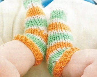 Instant Download - PDF- Cute  Easy Baby Socks Knitting Pattern (102)