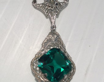 Vintage Art Deco Sterling Silver Green Stone Filigree Pendant 15""