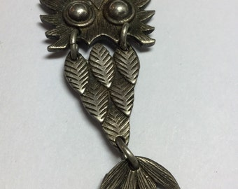 Vintage Sterling Silver Moveable Owl Pendant Signed JC Ferrara