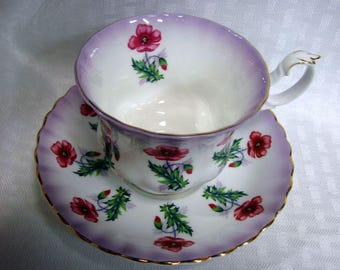 Vintage 1960'S Royal Albert Teacup and Saucer - Royal Albert Poppies Pattern 4469