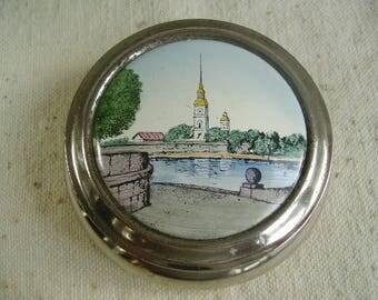 Vintage Russian Metal Enamel Box Leningrad