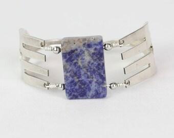 Handmade Blue Lapis Fork Bracelet - Gemstone Bracelet - Repurposed Fork - Upcycled - Beaded Bracelet - Summer Jewelry - Silverware Jewelry