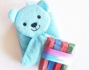 Bath Crayons, Soap Crayons, Bath Puppet, Bath Mitt, Bear Soap, Bear, Child's Soap, Gift, Water Toy, Kids Soap, Washcloth, Washable Crayons