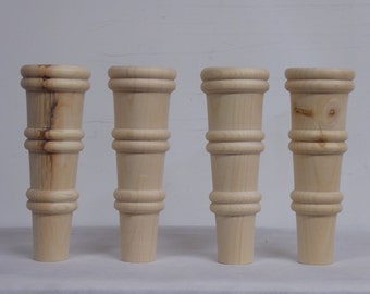 """Knotty Pine Sofa/Couch/Chair/Ottoman Furniture Legs 5/16"""" Bolt - Set of 4"""