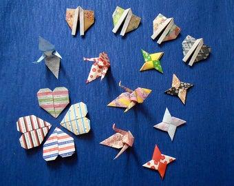 Set of 16 Japanese Handmade Traditional Origami Art Works Origami Cranes Orizuru, Lucky Stars, Kimono, Hearts