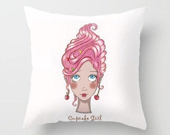 Cupcake Girl trow pillow cover