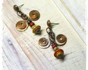 Small gypsy earrings, Hippie earrings, Bohemian earrings for women, Mismatched earrings, Tribal earrings, Boho copper earrings