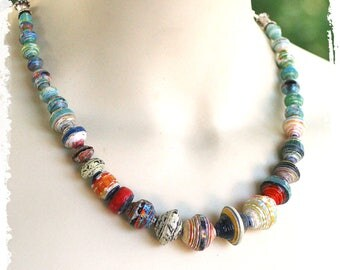 Colorful boho short beaded necklace, Bohemian necklace for women, Tribal beaded necklace, Handcrafted gift for wife, Paper anniversary
