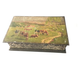 Antique French Tin Box. Sabby chic, Farmhouse, home tin box . Olibet Biscuit . Collectible advertising box.