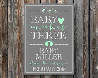 PRINTABLE Pregnancy Announcement Card–Pregnancy Announcement Sign–Pregnancy Reveal Sign-Baby Makes Three Card Sign-Pregnancy Card-PA08