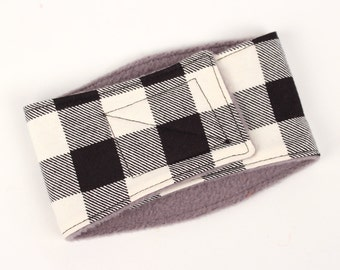 Leak Proof Belly Band for Male dogs Ivory Buffalo Plaid Dog Wraps, Diaper for Male Dogs