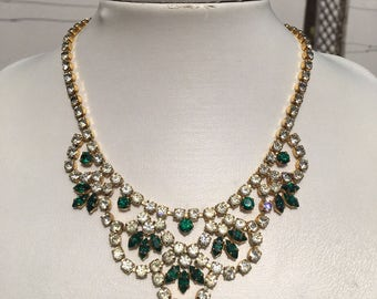 Art Deco Necklace: Vintage Green/Clear Diamanté and Antique Gold Rhinestone Bridal Wedding Necklace
