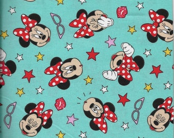 New Minnie Being Silly w/glasses and stars 100% cotton fabric by the yard and half yard