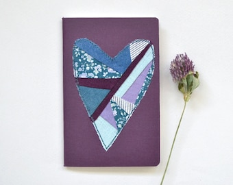 Patchwork heart notebook -- small plum Fabriano journal, hand sewn, decorated pocket size sketchbook, indigo blue violet, 3x5, dot pages