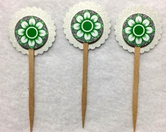 Set Of 12 Flower  Cupcake Toppers Any Occasion (Your Choice Of Any 12)