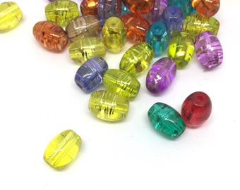25 glass beads, 11 mm, colorful