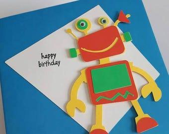 Robot Birthday Card, Robot Card, Birthday Card Robot, Robot, Bright Card, Blanks inside Birthday Card, Birthday Card, Greeting Card Robot