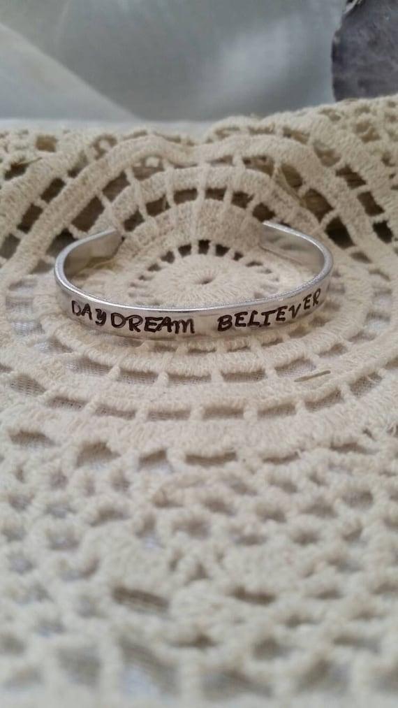 Daydream Believer Metal Stamped Bracelet, Inspirational Bracelet, intention jewelry, hand stamped bracelet, entrepreneur gift, boho bracelet