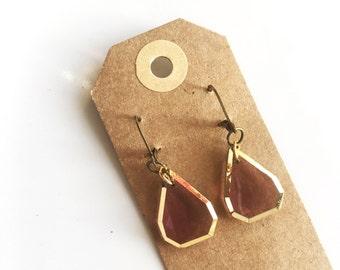Earrings | vintage look pink & gold short drop