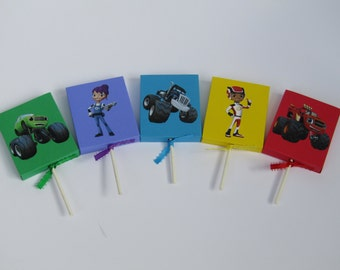10 Blaze and the Monster Machines Lollipop Favors Candy Cover-Blaze Boy/Girl Birthday Party Favors-Blaze  Birthday Party Classroom Favors