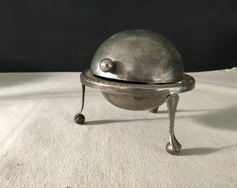Domed Revolving Serving Piece - Vintage Small Butter Dish - Condiment Domed Dish - Made in England - Silver Plated - Caviar Dish