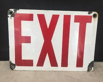Porcelain Enamel Exit Sign - Factory Sign - Industrial - Original Enamel Sign - Exit - Wall Hanging Sign - Vintage Metal Sign