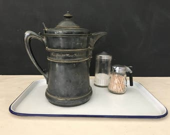 Meriden Britannia Silverplate Water Pitcher - Vintage Water Pitcher - 3rd Ward Politicians - Antique Water Pitcher - Prop