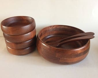 Set of 5 Baribocraft Wooden Salad Bowls Made in Canada - Mid Century
