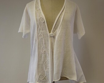 Special price. Knitted white linen vest, L size. Perfect for Summer.