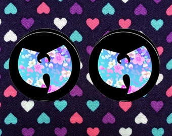 Floral Wutang Plugs- Fake,5mm,6mm,8mm,10mm,12mm,14mm,16mm,18mm,20mm,22mm,24mm,25mm,26mm,28mm,30mm,32mm,34mm,36mm,38mm,40mm,42mm,44mm,50mm