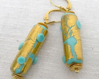 Earrings turquoise with 24 ct. Gold Handmade unique