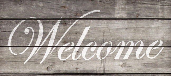 Welcome - Edwardian - Word Stencil - Select Size - STCL310 - by StudioR12