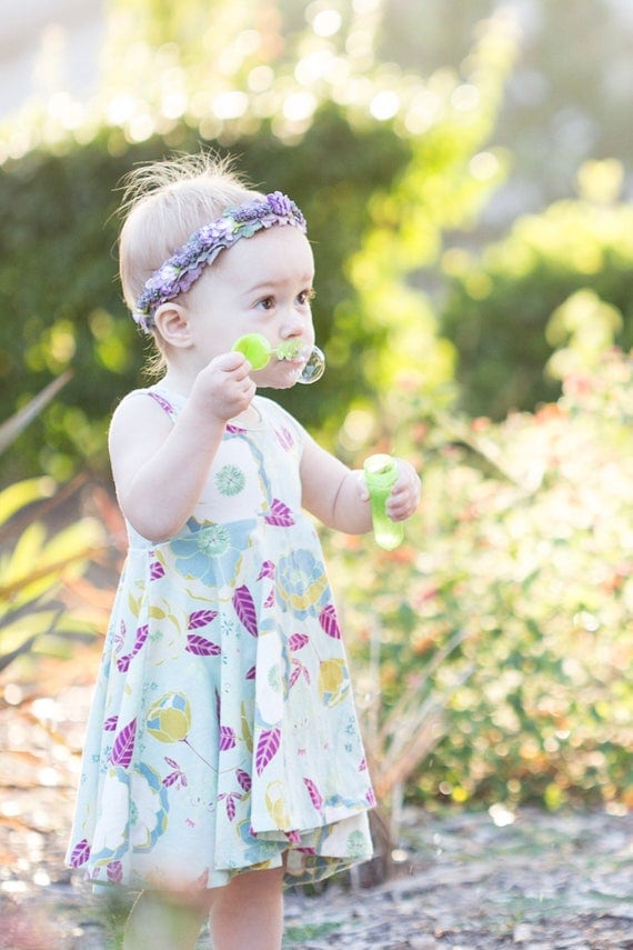 Floral Twirl Dress Twirly Dress Summer Dress Toddler Dress Child Dress Baby Dress Girl Twirl Dress Pink Jade Purple Sprinkled Peonies Dress