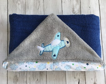 Hooded Baby Towel, Toddler Hooded Towel, Airplane Towel, Navy, Gray, Light Blue Towel, Airplane for Baby, Baby Shower Gift