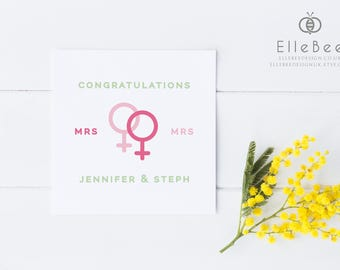 Lesbian Wedding Card / Same Sex Wedding Card / Gay Wedding Card / Mrs & Mrs / Wedding Card / Congratulations Card / LGBT / Elle Bee